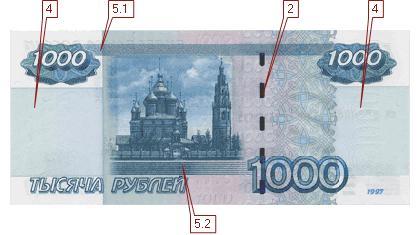 Какая защитная нить на модифицированных банкнотах 2004 сколько 19 в рублях