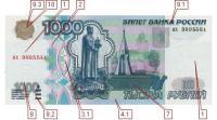 Фото лицевой стороны 1000 рублевой банкноты образца 1997 г. (24408 bytes)