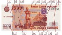 Фото лицевой стороны 5000 рублевой банкноты образца 1997 г. (25583 bytes)